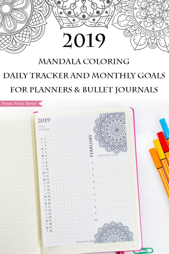 2019 Habit Tracker Printable, Mandala Coloring Design ...