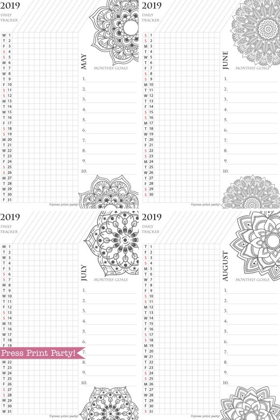 2019 Daily Task Tracker Printable Set, Monthly Calendar, Mandala coloring. For bullet journals or A5 planners. Press Print Party!