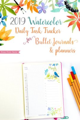 2019 Task Tracker Printable, habit tracker, goal setting, Watercolor Design, Press Print Party!