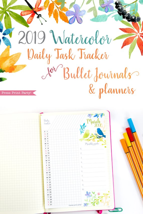 image about Watercolor Printable named 2019 Pattern Tracker Printable, Watercolor Style