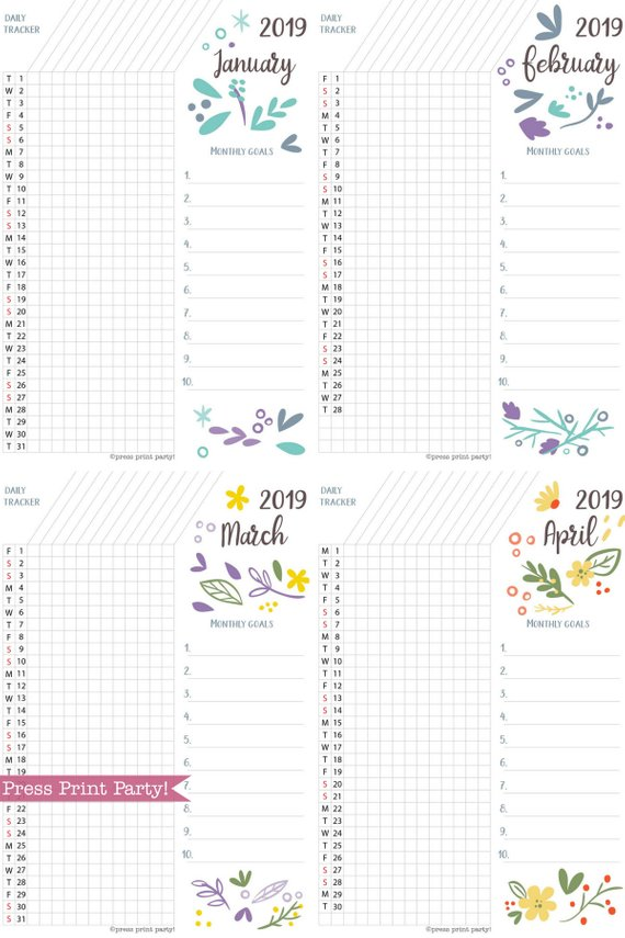 image about Bullet Journal Habit Tracker Printable called 2019 Pattern Tracker Printable, Whimsy Design and style