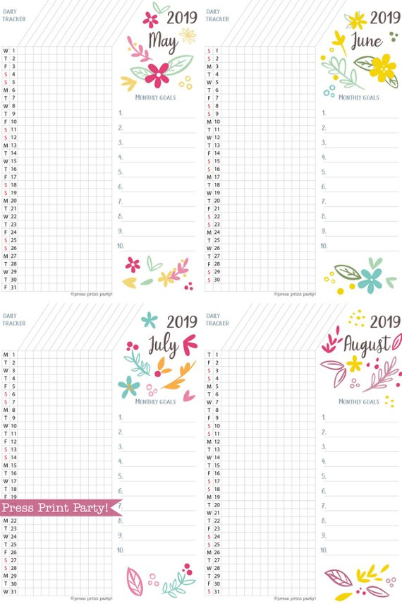 picture relating to Goal Tracker Printable named 2019 Pattern Tracker Printable, Whimsy Style and design