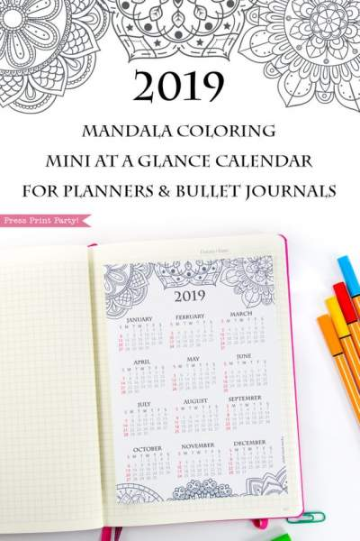 2019 yearly calendar printable mandala coloring design