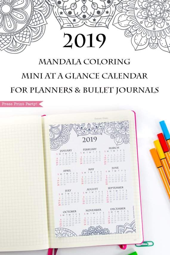 2019 yearly calendar printable mini at a glance calendar mandala coloring for bullet