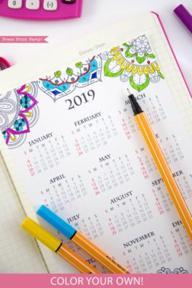 2019 Yearly Calendar Printable, mini at a glance calendar, Mandala coloring. For bullet journals or A5 planners. Press Print Party!