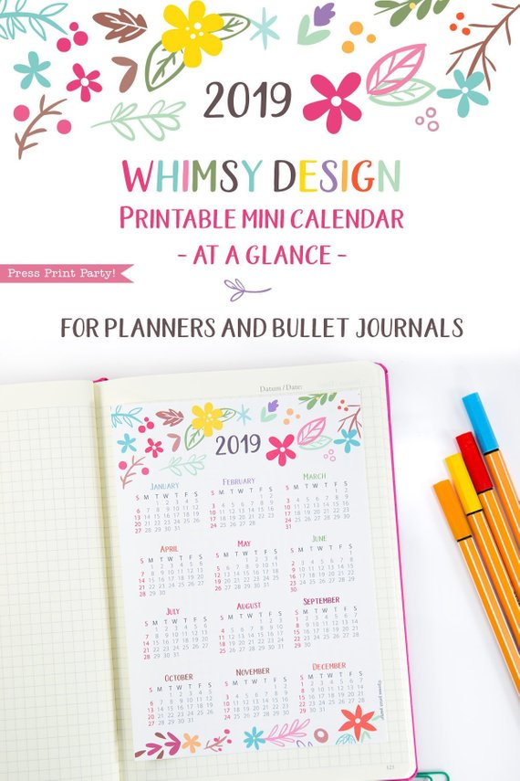 2019 yearly calendar printable whimsy design
