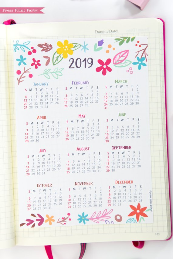 2019 Yearly Printable Calendar, mini at a glance calendar, whimsy designs. For bullet journals or A5 planners. Press Print Party!