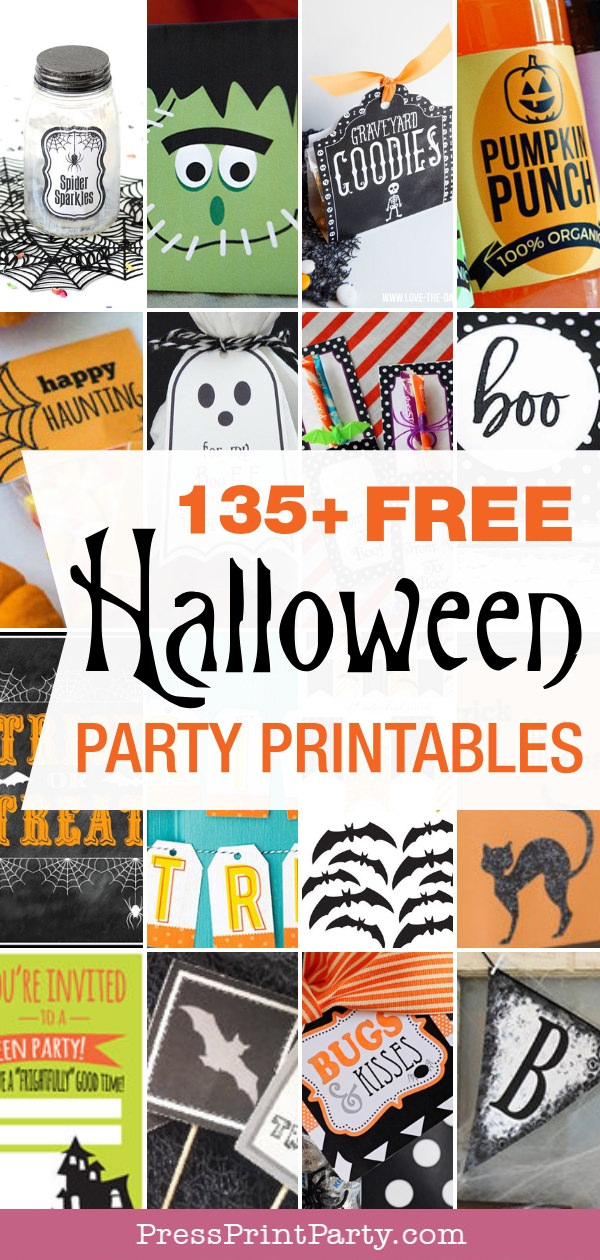 photograph regarding Printable Halloween Banners called 135+ Cost-free Halloween Occasion Printables (Decor Snacks