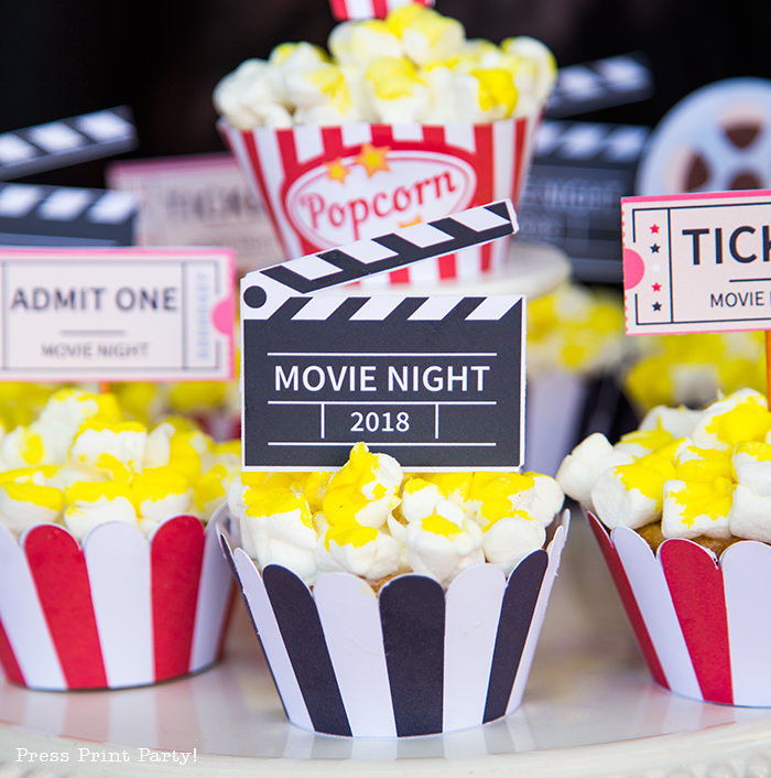 Movie night cupcake with a clapper topper - Press Print Party!