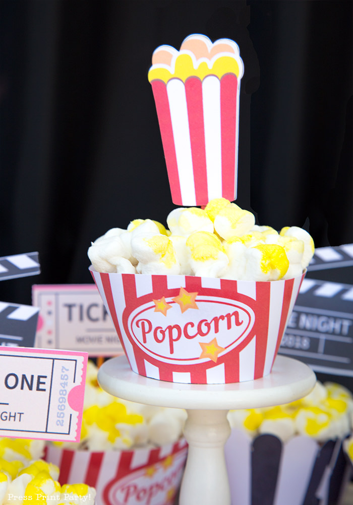 Popcorn cupcake with popcorn wrapper and popcorn box topper. - Press Print Party!
