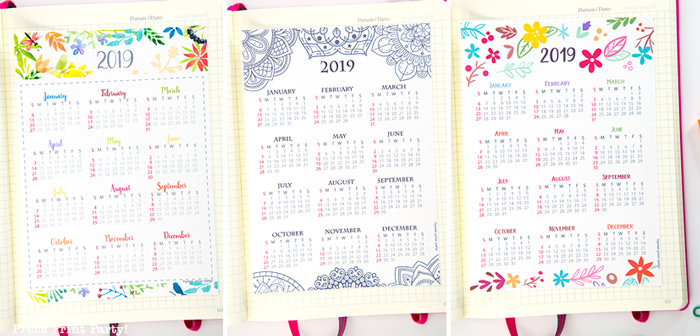 year at a glance calendar with mandala coloring design, watercolor design and whimsy designs- Press Print Party!