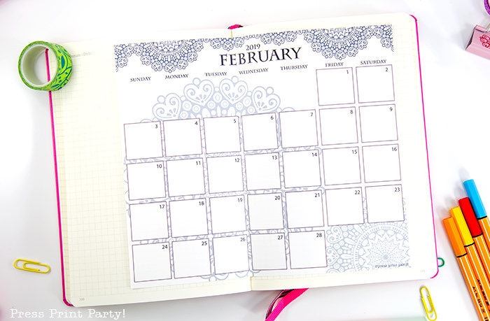 monthly calendar with mandala coloring design - Press Print Party!