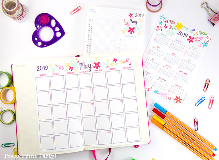 year at a glance calendar, monthly calendar and habit tracker with whimsy design - Press Print Party!