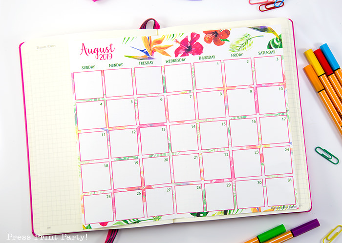 monthly calendar with watercolor design - Press Print Party!