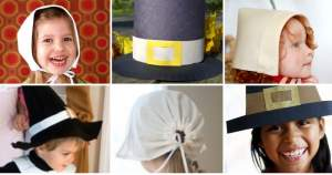 Collage of 6 pilgrim hat templates - Press Print Party!