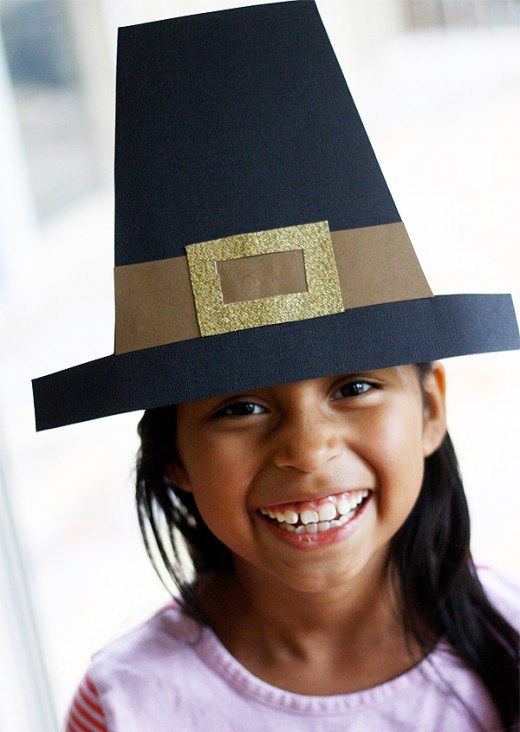 girl with paper pilgrim hat free template press print party