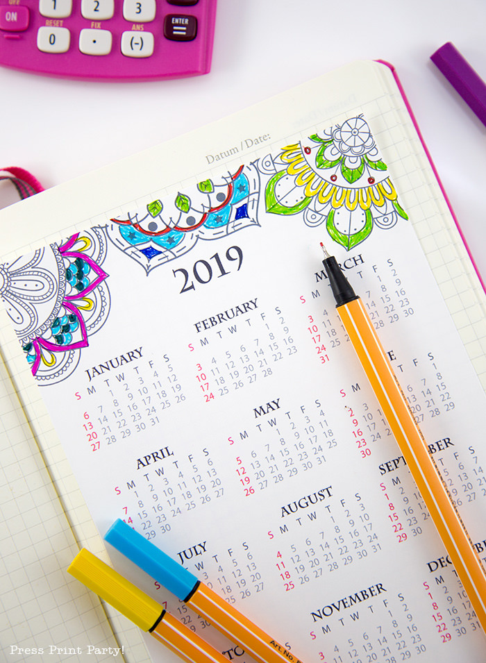 year at a glance calendar with colorec mandala