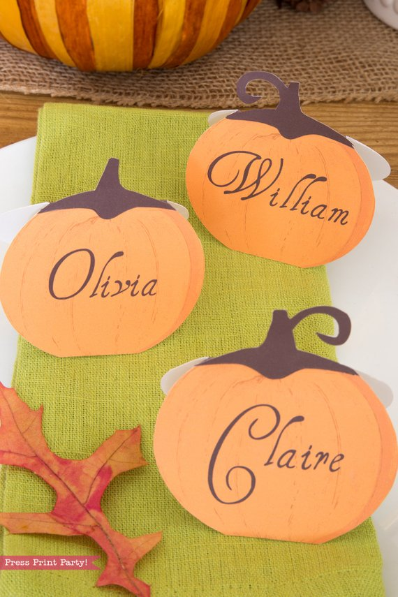 photo regarding Printable Thanksgiving Name Cards named Thanksgiving Space Playing cards Printable - Rustic Pumpkins