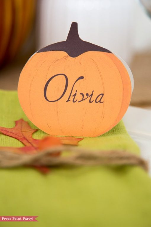 Rustic Thanksgiving place cards with black stems - Press Print Party!