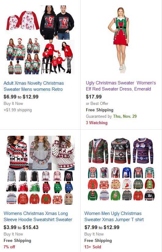 eBay ugly Christmas Sweaters.
