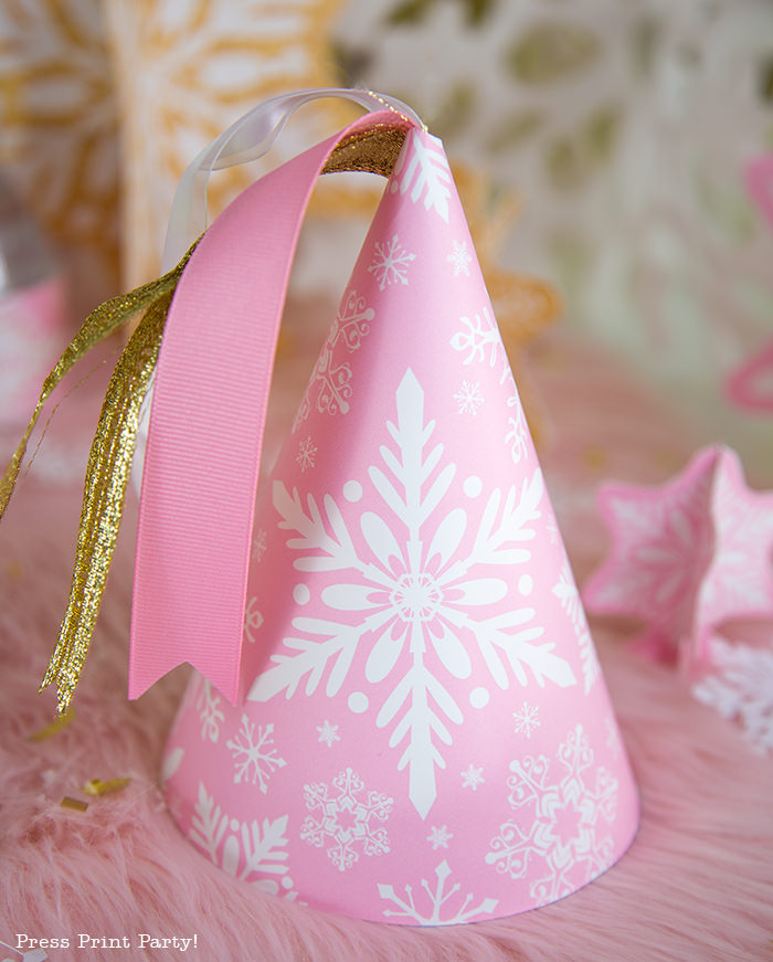 pink and gold winter onderand printable birthday hat with ribbons - Press Print Party!