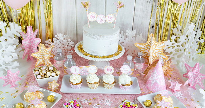 Golden Winter ONEderland First Birthday Girl Party Ideas