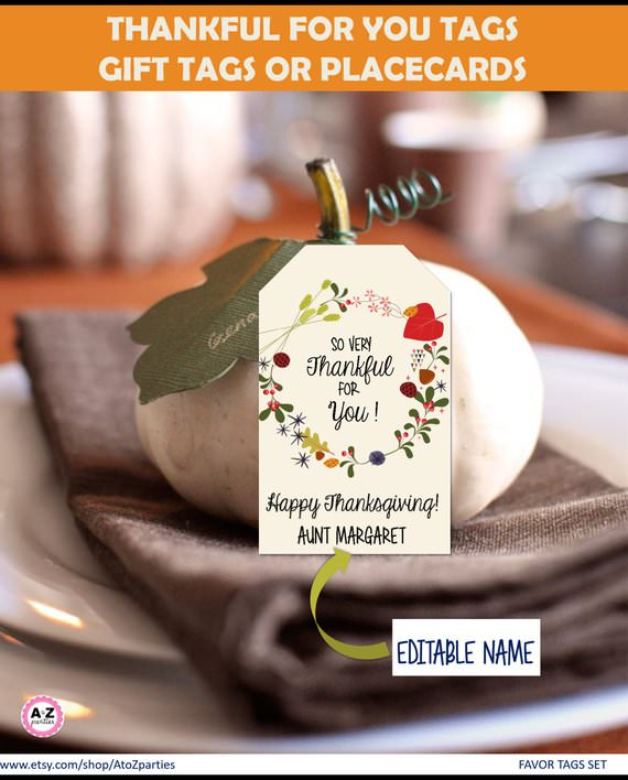 Printable Thanksgiving place card holders editable text Etsy
