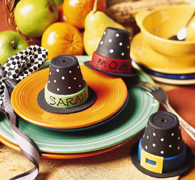 Flower pot pilgrim hats thanksgiving place card ideas diy craft