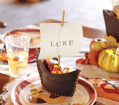 thanksgiving boat place card holder craft