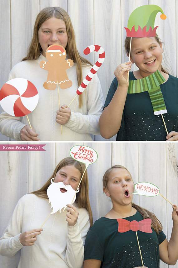 37 Christmas Photo Booth Props Printable with editable sign- Santa Beards, hat, elf hat, snowflakes, candy, gingerbread man, naughty and nice signs, merry christmas sign, etc - Press Print Party!