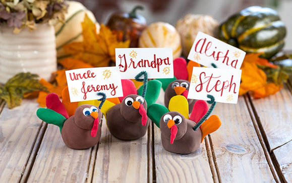 model clay turkey place card holders cute craft diy