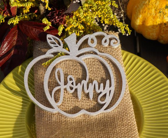 carved wood pumpkin thanksgiving place card etsy