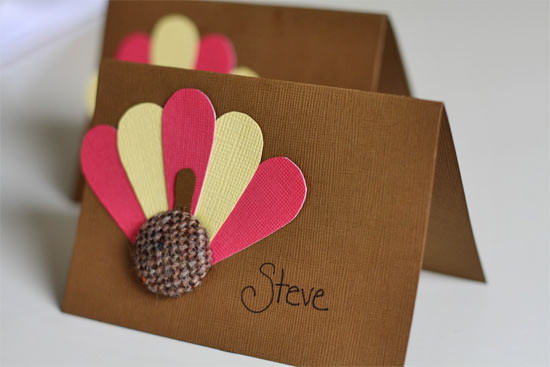 burlap button turkey diy thanksgiving place card