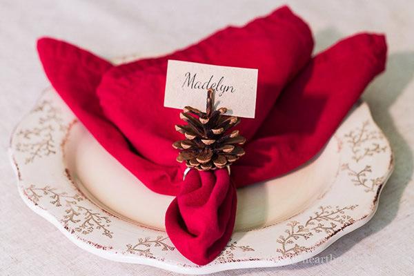 pinecone napkin ring thanksgiving place card holder craft diy