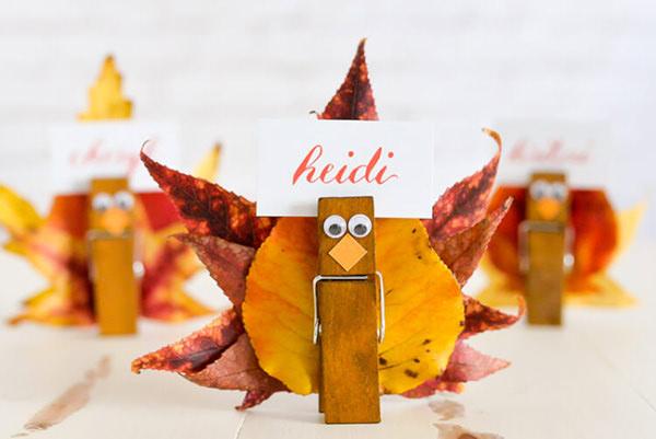 Turkey Thanksgiving place card craft