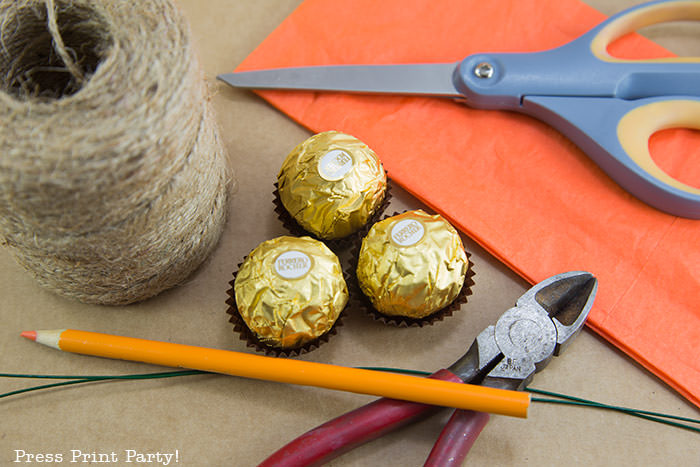 materials used to make the mini pumpkin thanksgving placecard holders. jute - rocher chocolates, orange tissue paper, scissors, wire cutters and floral wire. Press Print Party!
