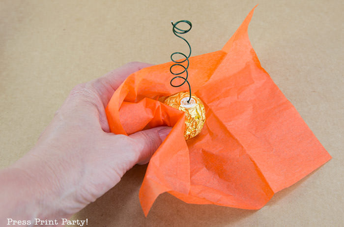 mini pumpkin thanksgiving place card holder craft with free printable card rocher chocolate with orange tissue paper and floral wire- Press Print Party!