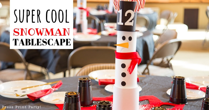 Christmas Snowman Table Decor Tablescape Made With Cans Press Print Party