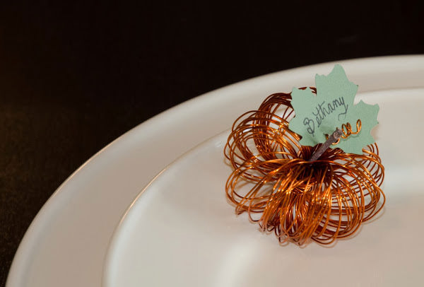 Wire mini pumpkin place card holder craft diy