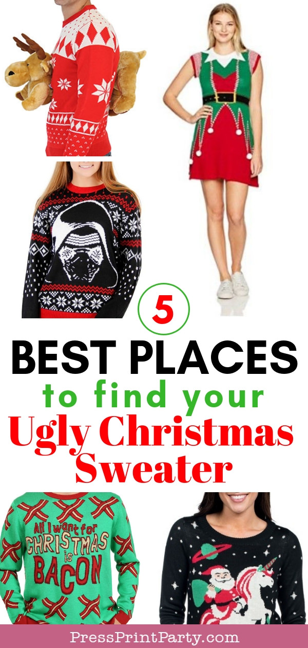 """The best places to find your ugly christmas sweater. 4 pictures with a 3D moose sweater, a santa riding a unicorn sweater, a """"All I want for Christmas is bacon"""" sweater and a Star Wars Darth Vader Christmas Sweater and an elf sweater dress - Press Print Party!"""
