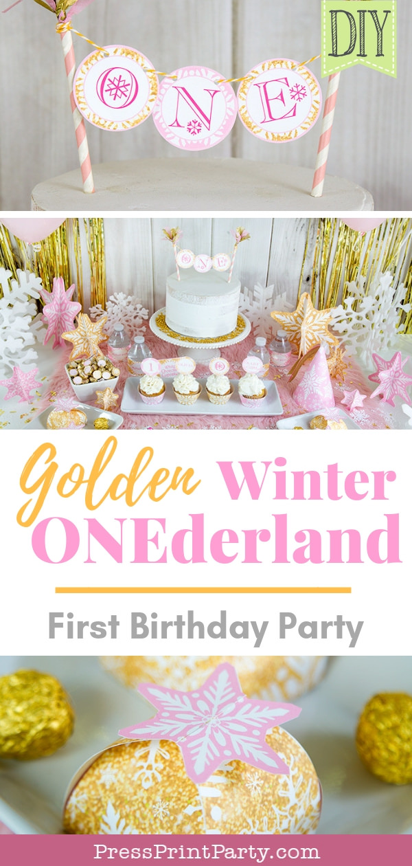 Golden winter onederland first birthday girl party decorations party supplies in pink and gold- Press Print Party!