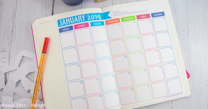 image about Bullet Journal Calendar Printable known as Absolutely free 2019 Bullet Magazine Regular monthly Calendar Printable - Thrust