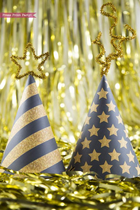 2 printable party hats in black and gold for new years eve party Press Print Party!
