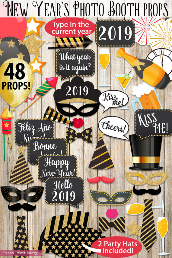 48 new years eve photo booth props printables with hats mustaches masks balloons