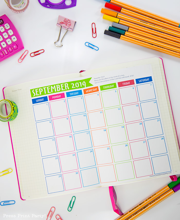 free 2019 monthly printable calendar - Press Print Party!