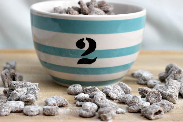 grown up puppy chow in bowl. sweet chex mix recipe