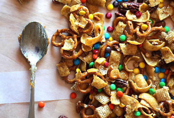 frito snack mix with chexs and m and ms and pretzels