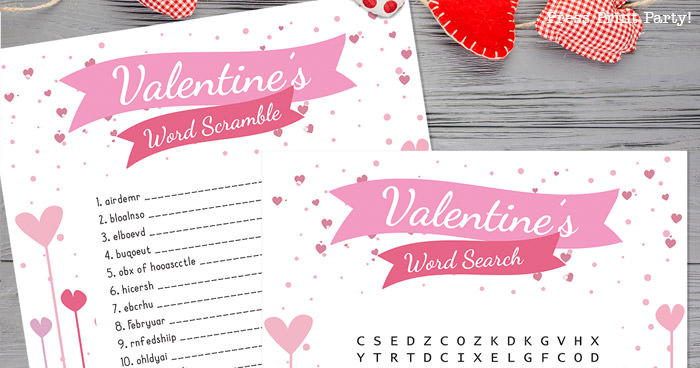 FREE Valentine Word Search & Word Scramble Printables for Kids