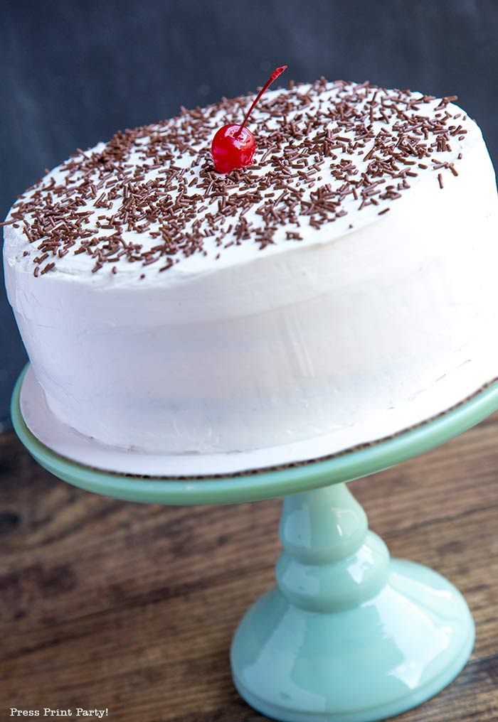 chocolate cake on a pedestal with chocolate sprinkles on top and a cherry in the middle on a green pedestal - Press Print Party!
