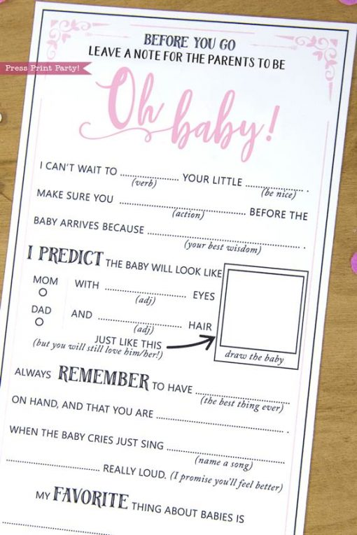 Parents to be Baby Shower MadLibs Advice Card Printable, Mom